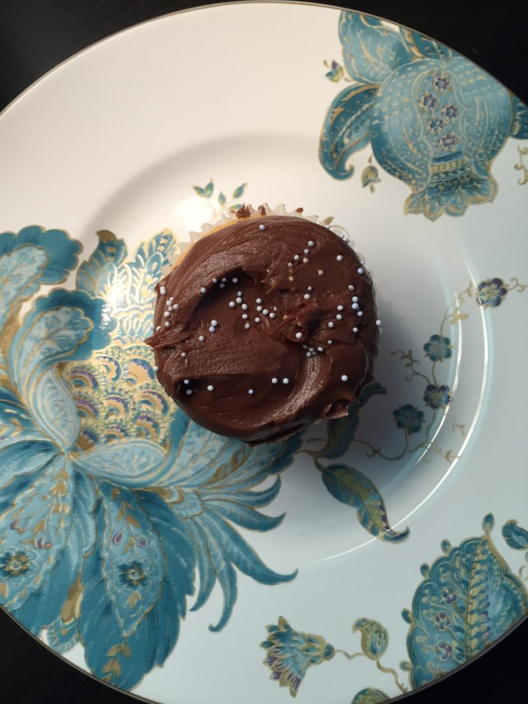 Vanilla cupcake with chocolate frosting from Magnolia Bakery