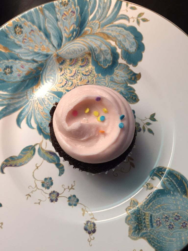 Chocolate cupcake with vanilla frosting from Magnolia Bakery